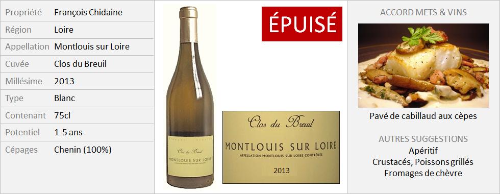 Chidaine - Montlouis Clos du Breuil 2013 (Grand)