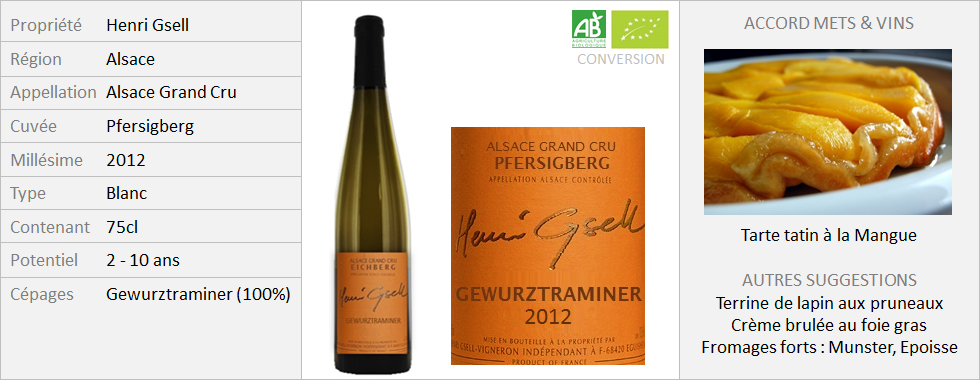 Henri Gsell - Alsace Grand Cru Gewurztraminer Pfersigberg 2012 (Grand)