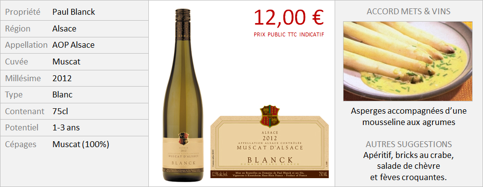 Blanck - Alsace Muscat 2012 (Grand)