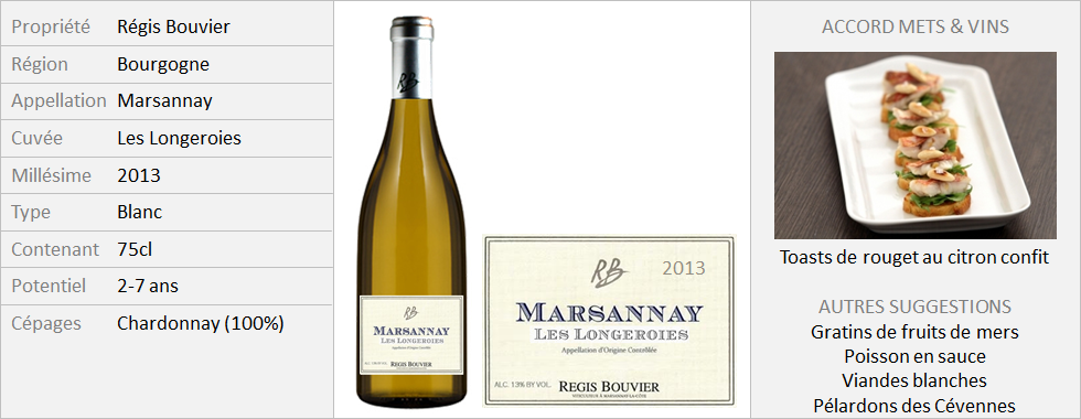 Bouvier - Marsannay blanc Longeroies 2013 (Grand)