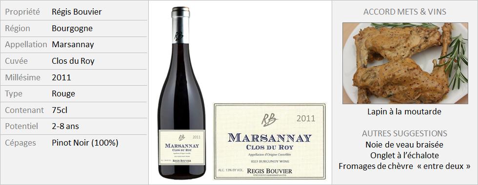 Bouvier - Marsannay rouge Clos du Roy 2011 (Grand)
