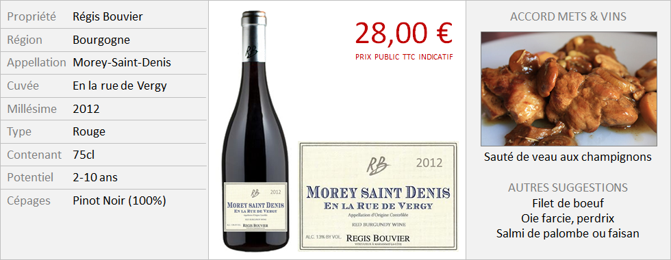 Bouvier - Morey-Saint-Denis, En la rue de Vergy 2012 (Grand)