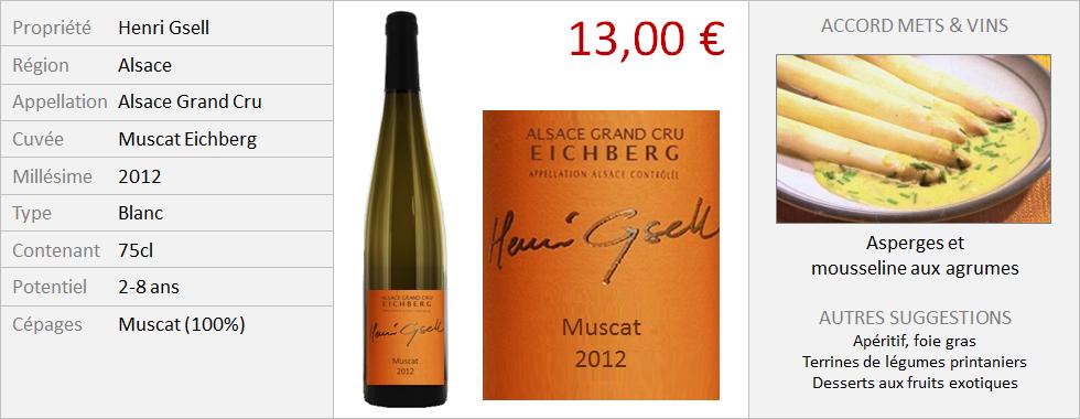 Henri Gsell - Alsace Grand Cru Muscat Eichberg 2012 (Grand)