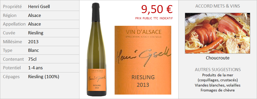 Henri Gsell - Alsace Riesling 2013 (Grand)