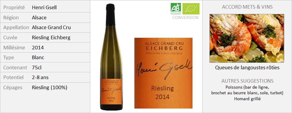 Henri Gsell - Alsace Grand Cru Riesling Eichberg 2014 (Grand)