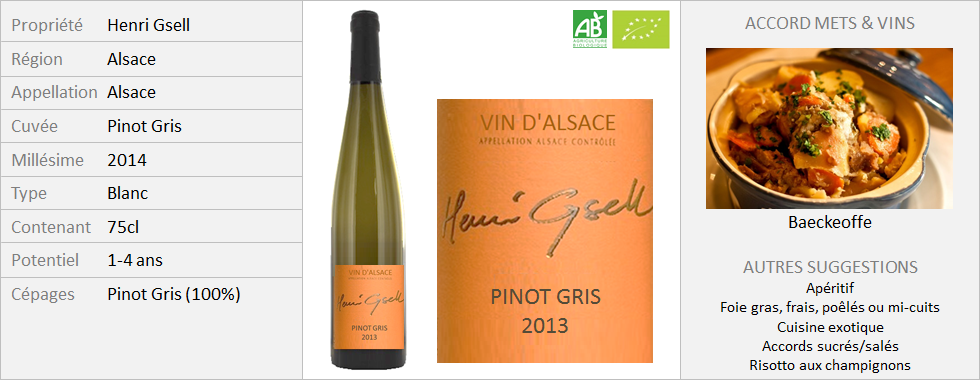 Henri Gsell - Alsace Pinot Gris 2014 (Grand)