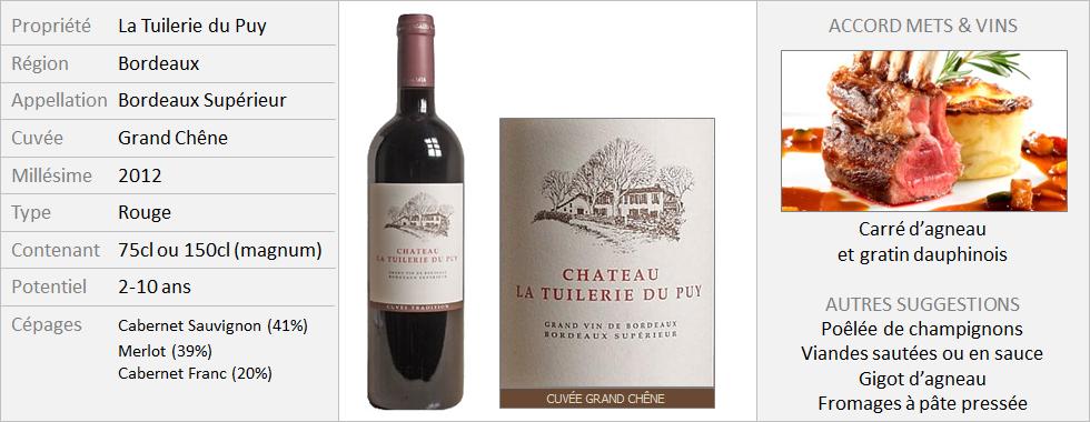 Tuilerie du Puy - Bordeaux Superieur Grand Chêne 2012 (Grand)