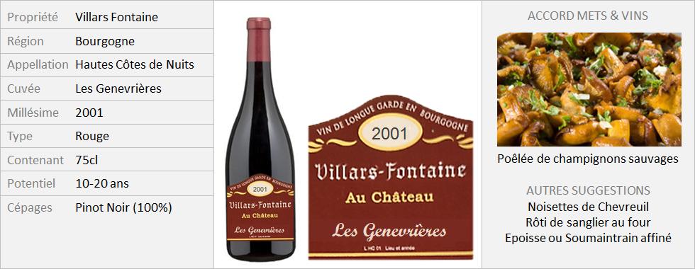 VillarsFontaine - Hautes-Côtes-de-Nuits Les Genevrières 2001 (Grand)