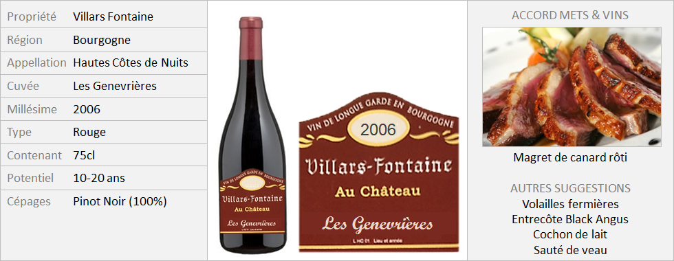 VillarsFontaine - Hautes-Côtes-de-Nuits Les Genevrières 2006 (Grand)