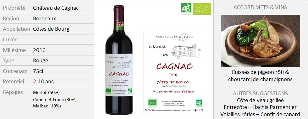 Chateau de Cagnac Côtes de Bourg 2016