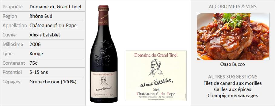 Grand Tinel Chateauneuf du Pape Rouge Alexis Establet 2006